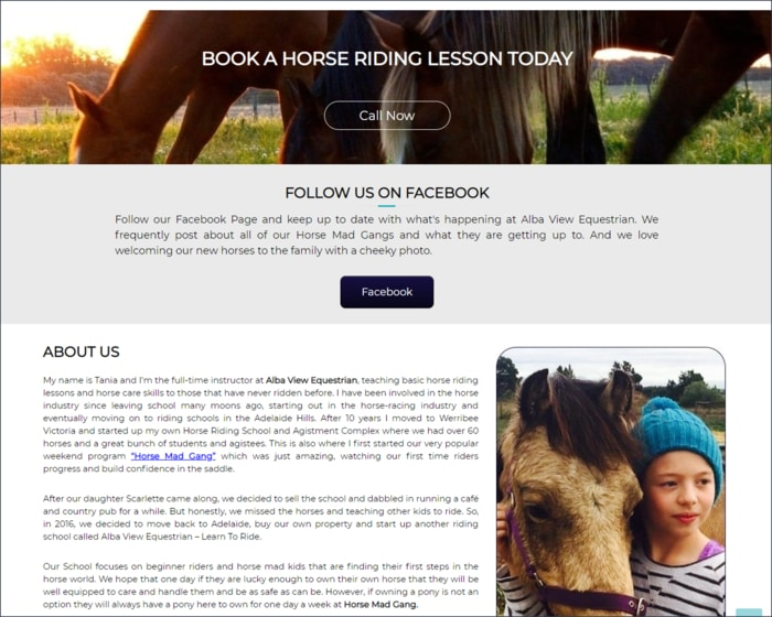 Focused Web Design Adelaide Portfolio - Alba View Equestrian