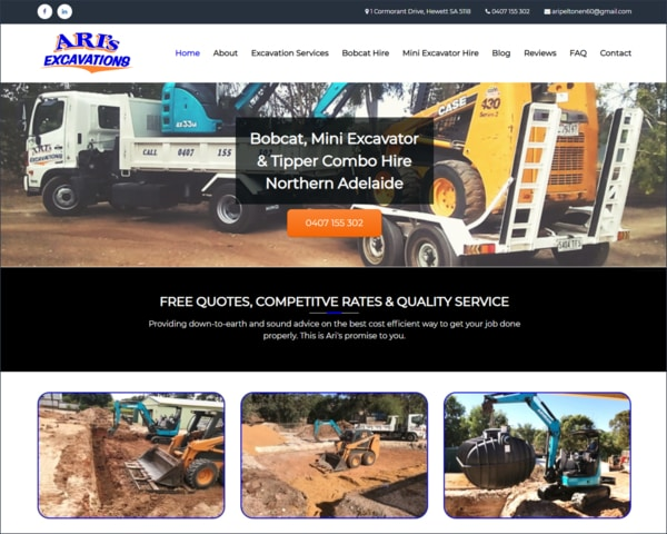 Focused Web Design Adelaide Portfolio - Ari's Excavations
