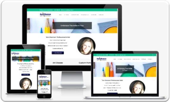 Small Business Web Design Portfolio - Ann Shannon Art School Mockup 1