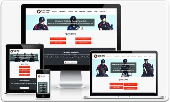Small Business Web Design Portfolio - Globe Derby Pony Club Mockup