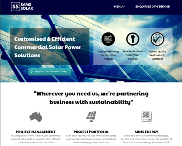 Focused Web Design Adelaide Portfolio - Sams Solar