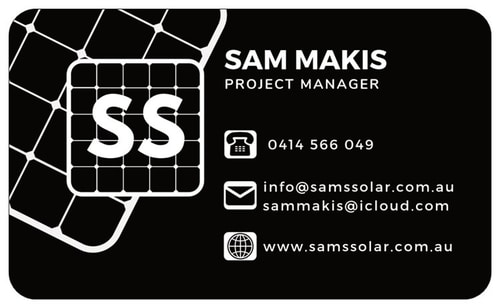 Small Business Website Portfolio - Sams Solar - Business Card Back